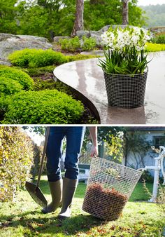 These hand woven modern wire baskets are sturdy enough to be used as planters and for yard work.