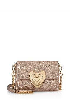 Small Metallic Leather Heart Bag