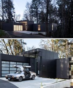 A garage with an opaque door sits beside the front door that welcomes visitors to the home. #ModernGarage #ModernHouse #BlackHouse