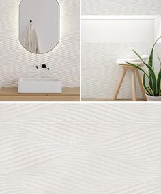 A modern white bathroom wall tile that has a wavy texture.
