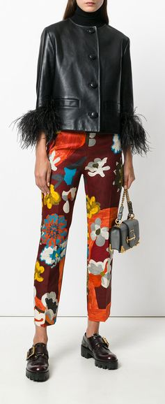 PRADA  floral pattern cropped trousers, explore Prada on Farfetch now.