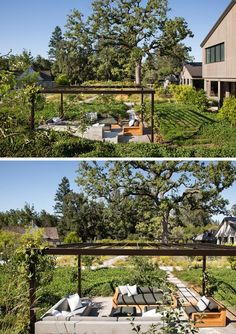 A modern lounge that has a pergola with vines growing on it.