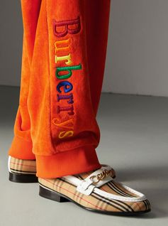 Relaxed-fit sweatpants by #Burberry in velvety towelling embroidered with colourful 'Burberrys' lettering. First seen at the #Burberry show