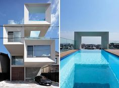 Architecture firm Eastern Design Office, has recently completed a new house in Kyoto, Japan, that features a unique, rooftop cantilevered swimming pool, that has a window through to the living room below. #SwimmingPool #Architecture #RooftopPool #CantilveredPool