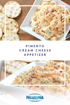 Give your party a teaser before the main course with this spicy Pimento-Cream Cheese Appetizer Spread. The combination of pimentos, sharp cheddar cheese, jalapeño peppers, green onions and delicious PHILADELPHIA Cream Cheese is sure to get everyone mingling. #ItMustBeThePhilly