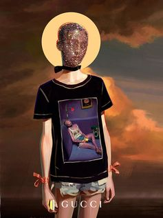 ArtistIgnasi Monrealdepicts a mysterious model wearing a T-shirt featuring a self portrait, part of theGucci Giftcampaign.