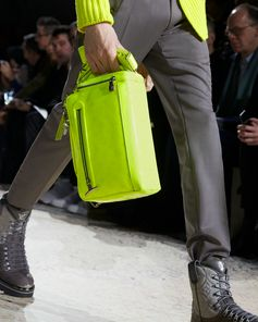 A Monogram Fluo bag from the Louis Vuitton Fall-Winter 2018 Fashion Show by Kim Jones. See all the looks now at louisvuitton.com.