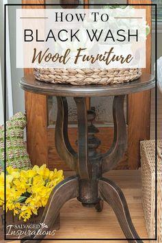 Black Wash Wood Furniture   SideTable Restyle