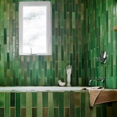 Green tiles for the bathroom. Feels like you're bathing in the forest.