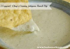 {Copycat} Chuy's Creamy Jalapeno Ranch Dip | Fun Home Things