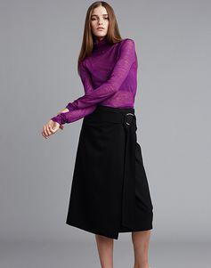 LE CIEL BLEU ロングスリーブシアーニット/ジョーゼットラップスカート