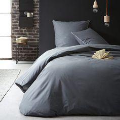 Parure de lit 2 pers. en coton anthracite avec galon dentelle