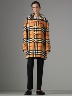 Gosha x Burberry Check Oversized Duffle Coat reworked in a wool-blend graphic check, updated with sealed internal seams and a detachable hood