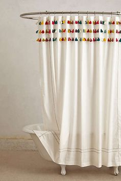 Anthropologie - Lindi Fringe Shower Curtain