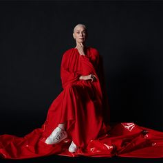 Choreographer and dancer Lucinda Childs for VLTN. Here shot on set after her performance while dancing under a rain of rose petals. 