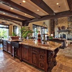 Omg o__o This is my absolute dream kitchen. The colors, style, wood and granite choices, stone flooring, open layout space connected to the family room, large windows for open airy and bright space. Everything. My goodness. Heaven.