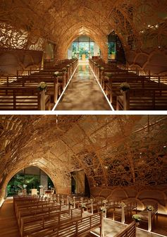 Nikken Space Design have designed a chapel in Hiroshima, Japan, that has 100 large hand-carved wooden panels with tree motifs designed by a kimono designer.