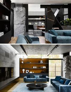 In this modern house, a stone element separates the dining area and the living room where colorful soft furnishings creating a strong variation in texture and finish. The hearth of the fireplace travels from one side of the living room to the other, and connects to the outdoor space. #ModernInterior #LivingRoom #BlueCouches #STone #DarkInterior