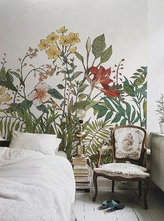 Floraison fleurs feuilles papier peint Floral Tropical lAsie