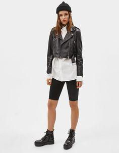 Cropped faux leather biker jacket | Bershka  #newin #trend #trendy #cool #fashion #outfit #ideas #inspiration #look #woman #mujer #new #in #bershka #bershkacollection #moda #polipiel #biker #chaqueta #jacket #tendencia #trend #fauxleather