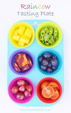 Make a bright rainbow platter of different fruits and vegetables to tempt kids to try new foods - Eats Amazing UK - healthy and fun food for kids