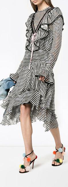 PREEN BY THORNTON BREGAZZI  Stripy ruffled asymmetrical dress, explore the latest arrivals on Farfetch now.