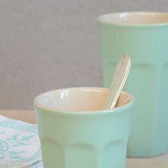 Mug haut en céramique rétro pour café latte couleur menthe