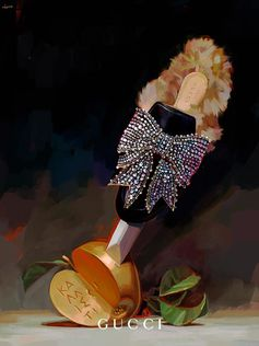 The Gucci Princetown slipper with crystal bow pierces the Golden Apple of Discord which, according to Greek mythology was tossed by Eris—the goddess of strife—as a prize of beauty, stirring trouble between Hera, Athena, and Aphrodite that eventually led to the Trojan War. Illustration by Ignasi Monreal.