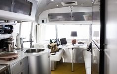 This airstream trailer has been outfitted with smart home technology.