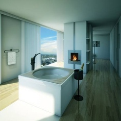 A fireplace in the bathroom. © Grohe