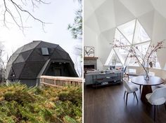 Jess Cooney Interiors have given a 1980's original Buckminster Fuller geodesic dome on the shores of Lake Seneca in Becket, Massachusetts, a modern interior renovation. #GeodesicDome #ModernInterior #InteriorDesign
