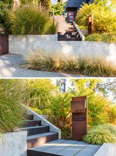 Landscaping Ideas - At the front of this modern house, a new custom mailbox and house number identifies the entrance and starts at the street to create a more gracious entry for guests to climb the hillside and enjoy the lush plantings and views along the path to the front door. #LandscapingIdeas #Landscaping #GardenIdeas #RetainingWalls