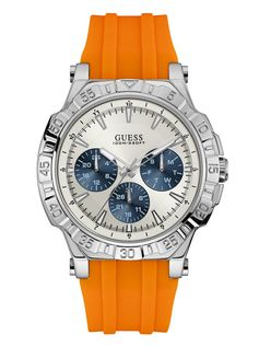 Silver-Tone and Orange Sport Watch