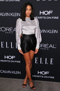 Laura Harrier wearing a look from the Louis Vuitton Cruise 2019 Collection by Nicolas Ghesquiere, and sandals. At the 25th Elle Women in Hollywood, on October 15th, 2018, in Los Angeles.