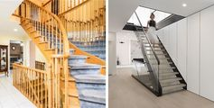 A 1970s curved wood staircase replaced by a modern black steel, glass, and wood staircase.