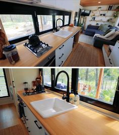 In this modern tiny house kitchen, light wood countertops and white cabinets help to keep the interior bright, while the black framed windows open up to provide direct access to the bar outside. #TinyHouseKitchen #SmallKitchen #TinyHouseIdeas