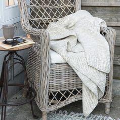 Plaid en coton matelassé beige motif rayures IB Laursen
