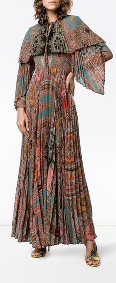ETRO printed pleated long sleeve gown, explore new season Etro on Farfetch now.