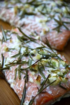 Baked Salmon with Rosemary, Garlic, and Olive Oil.