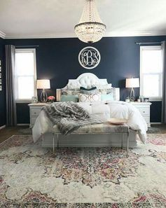 Navy bedroom Love the pillows