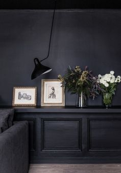 Dark Walls and Black Wall Lamp | Living Space