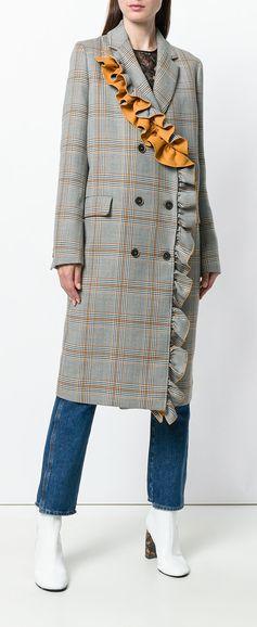 MSGM frill detail check coat, explore new season MSGM on Farfetch now.