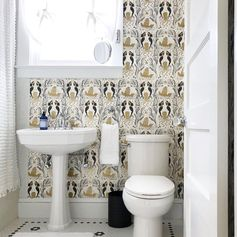 Mermaids (Gold) Powder Room | via @jonespnp | Mermaids Wallpaper