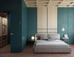 idée chambre à coucher tête de lit matelassée lit gris luminaire suspension