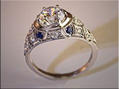 p497  14K White Gold Vintage Open FIligree Style Ring for Remount of Customers Diamonds and Sapphires.