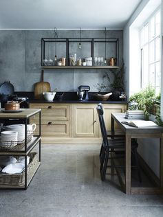 Design Sleuth: Stacked and Wall-Mounted Tables as Kitchen Storage | Remodelista | Bloglovin'