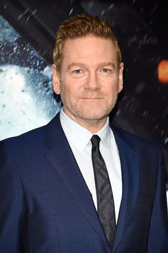 Actor Kenneth Branagh wears Burberry tailoring in shades of blue to the premiere of Dunkirk Movie in New York