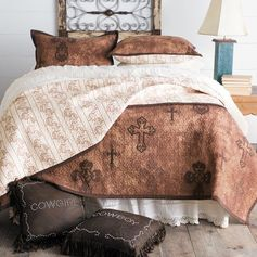 Ironwork Cross Quilt Set- A beautiful ironwork cross pattern makes this reversible bedding set a must-have to update your bedroom. #coolbedlinenideas
