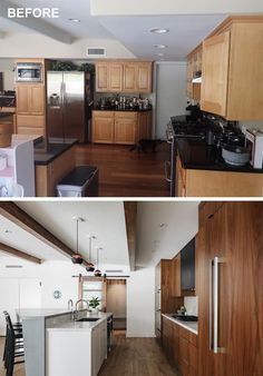 An old kitchen was renovated with new dark wood cabinets, and a sliding door to the pantry and laundry room.