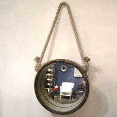 Miroir rond hublot en métal patiné rouille Chehoma